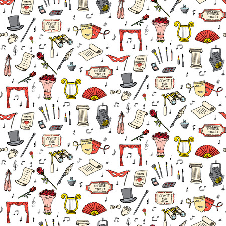 Seamless background theater hand drawn doodle Theatre set Vector illustration Sketchy theater icons Acting performance elements Ticket Masks Lyra Curtain stage Musical notes Pointe shoes Make-up tools Illustration