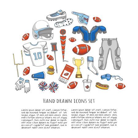 pantalones abajo: Mano doodle f�tbol americano conjunto Ilustraci�n vectorial elementos de iconos relacionados con el deporte de f�tbol incompletos, casco bola pantalones, jersey de la rodilla de campo tacos hombreras muslo porristas abajo indicador