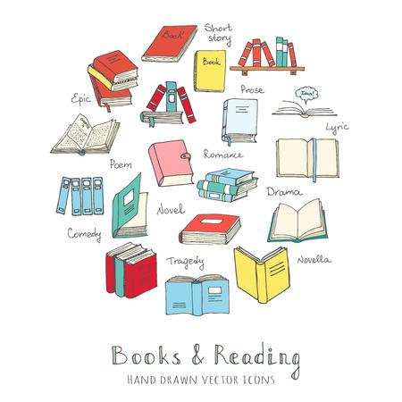 Ręcznie rysowane doodle czytanie książek ustawić ilustracji wektorowych symboli Sketchy książka ikony wektorowe elementy czytania i uczenia Book Club ilustracji Powrót do szkoły symboli Wykształcenie University College