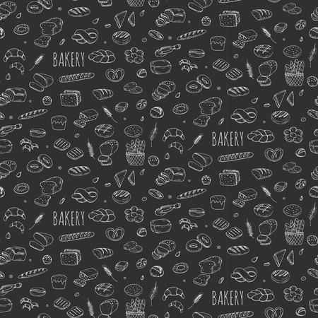 Fondo inconsútil de la mano doodle conjunto de iconos de panadería panadería recolección del grano de centeno Ciabatta Pan entero del grano de la historieta del panecillo en rodajas baguette francesa grano Croissant ilustración Vector incompleto pan panadería