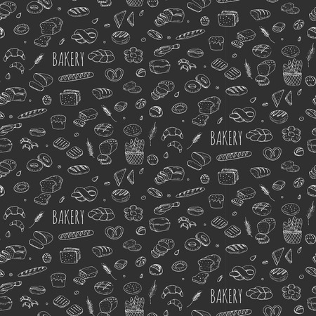 french bakery: Seamless background hand drawn doodle Bakery set Cartoon bakery icon collection Rye bead Ciabatta Whole grain bread Bagel Sliced bead French baguette Croissant Vector illustration Sketchy bread Bakery