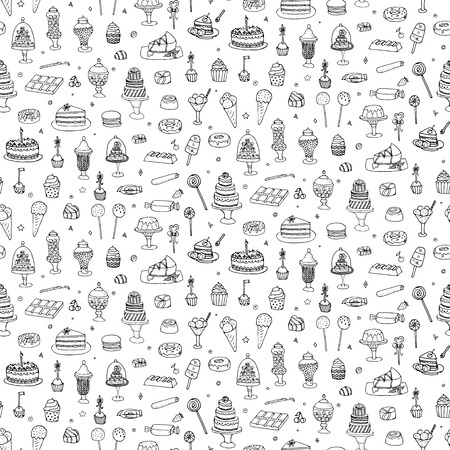 Seamless background hand drawn doodle Sweets set Vector illustration Sketchy Sweet food icons collection Isolated desert symbols Cupcake Macaron Chocolate bar Candy Cake Pie Pastry Lollipop Pastry Vettoriali