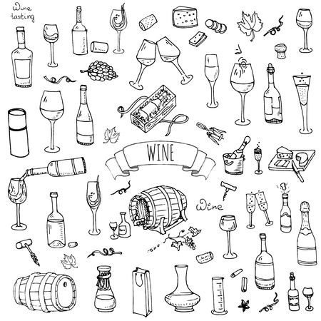 Hand drawn wine set icons Vector illustration Sketchy wine tasting elements collection Wine objects Cartoon wine symbols Vineyard background Vector wine background Winery illustration Grape Wine glass Фото со стока - 55561181