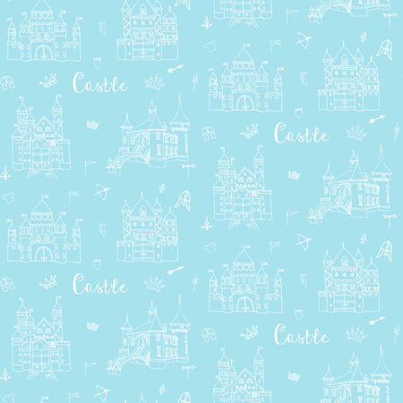 crossbow: Seamless background of set of hand drawn cartoon fairy tale castle icons, castle doodle vector sketch with set of fairytale, game icons - crossbow, arrow, knight helmet, flag,  crown