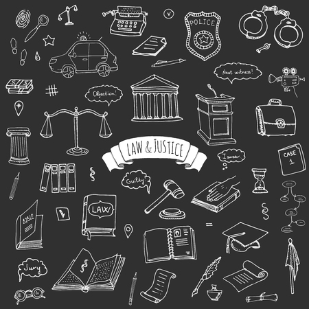 scale of justice: Hand drawn doodle Law and Justice icons set Vector illustration law sketchy symbols collection Cartoon law concept elements suitable for info graphics, websites and print media. Black and white icons