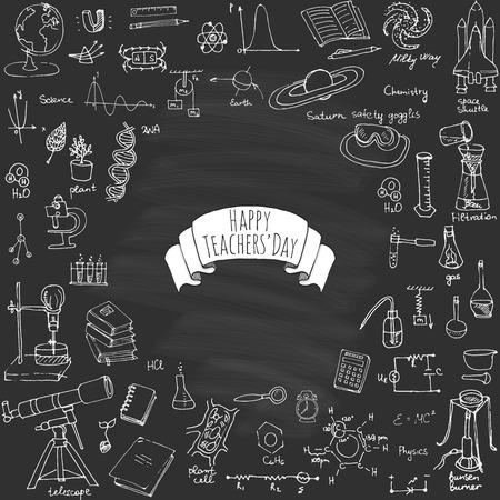 profesores: Feliz Día del Maestro a mano alzada conjunto de dibujos artículos de la escuela de dibujo Ciencia tema de la mano de útiles escolares del bosquejo del Doodle ilustración vectorial ciencia, la física, cálculo, química, biología, astronomía Vectores
