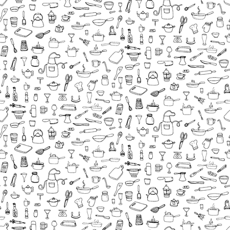 Seamless background hand drawn doodle Kitchen utensils set Vector illustration Sketchy kitchen ware icons collection Isolated appliance kitchen tools symbols Cooking equipment Tea pot Pan Knife Cup