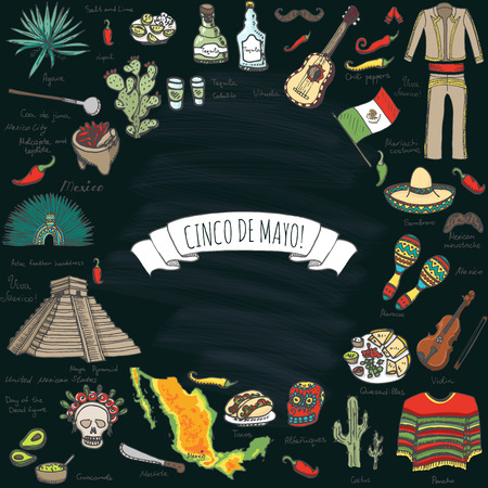 Cinco De Mayo hand drawn cartoon collection Doodle Mexico set Vector illustration Sketchy mexican food icons United Mexican States elements Maracas Sombrero Maya Pyramid Aztec Tequila Chili pepper Ilustracja
