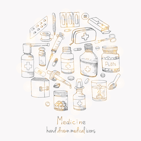 prescription bottles: Set of health care and medicine hand drawn icons Doodle medical elements Vector background with wellness freehand drawings Vector sketch illustration Drugs icons Pills Capsules Prescription bottles