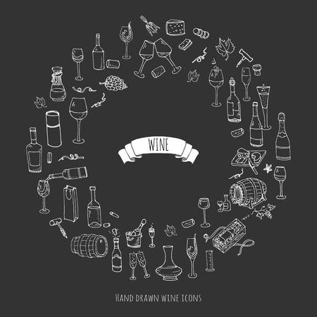 Hand drawn wine set icons Vector illustration Illustration