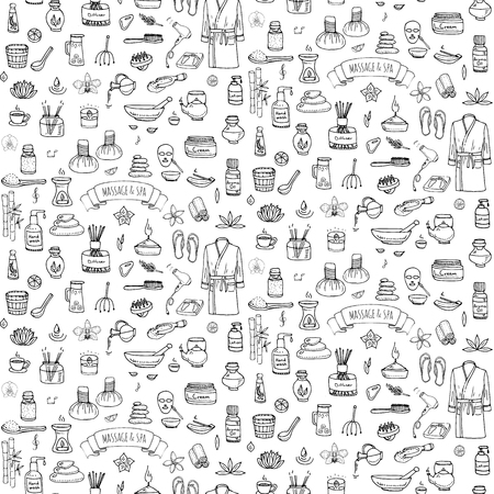 body wrap: Seamless background hand drawn doodle Massage and Spa icons set Vector illustration symbols collection Cartoon beauty care concept elements health care Wellness treatment Body massage Skin care Spa