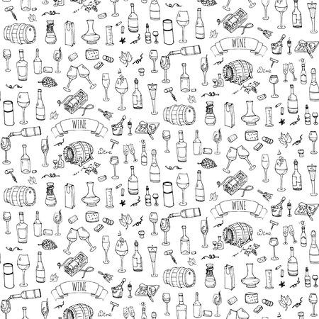 シームレスな背景手描きワインのアイコンを設定  イラスト・ベクター素材