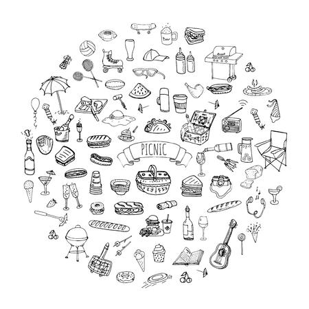 food basket: Hand drawn doodle Picnic icons set Illustration