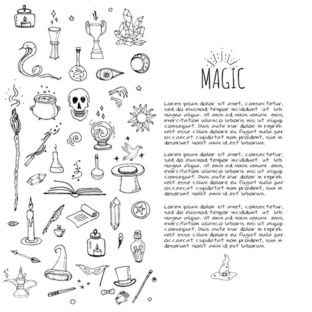 sorcery: Hand drawn doodle Magic set Vector illustration wizardy, witchcraft symbols Isolated icons collections Cartoon sorcery concept elements Magic wand Love potion Fairy book Fairy tale Snake Crystal ball Illustration