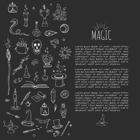 enchantment: Hand drawn doodle Magic set Vector illustration wizardy, witchcraft symbols Isolated icons collections Cartoon sorcery concept elements Magic wand Love potion Fairy book Fairy tale Snake Crystal ball Illustration