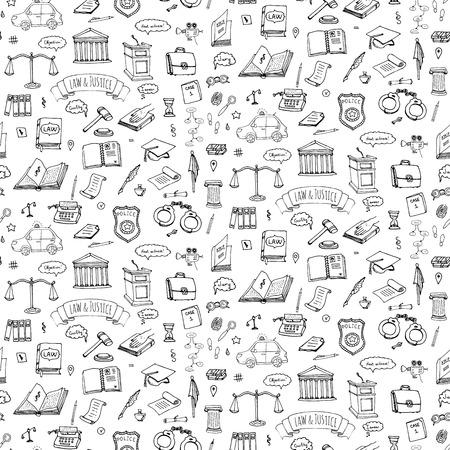 Bezszwowych tła ręcznie rysowane doodle Ustaw prawa i Sprawiedliwości zestaw ikon Ustawienie ilustracji wektorowych prawa Sketchy symbole kolekcji Elementy koncepcji Cartoon prawo odpowiednie do informacji grafiki, stron internetowych i nośników wydruku Ilustracje wektorowe