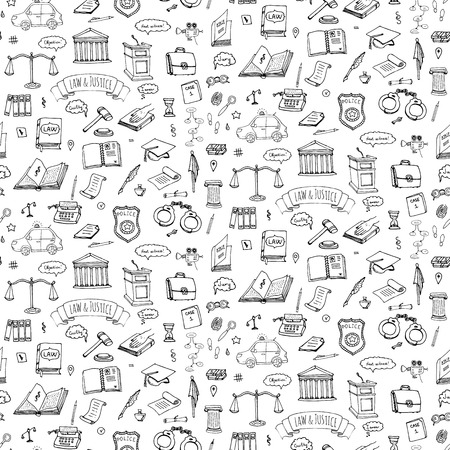 Seamless background hand drawn doodle Law and Justice icons set Vector illustration law sketchy symbols collection Cartoon law concept elements suitable for info graphics, websites and print media