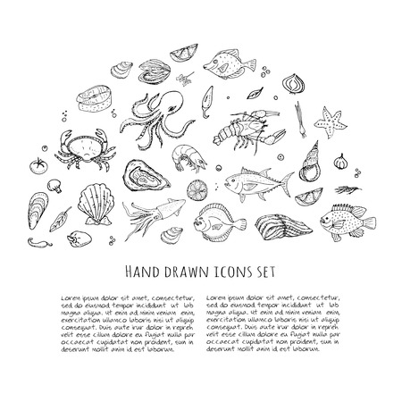 salmon fillet: Hand drawn doodle Seafood icons set