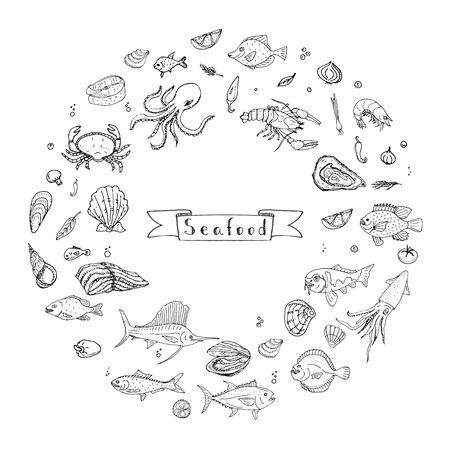 Hand drawn doodle Seafood icons set Vector illustration seafood symbols collection Cartoon fish Crab Seafood platter Lobster Oyster Shrimp Shellfish Shrimp on white background for your menu or design