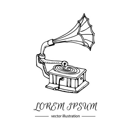 loudhailer: Hand drawn doodle Gramophone Vector illustration musical instrument and symbols icons collections Cartoon sound concept elements Music Gramophone vector logo design template