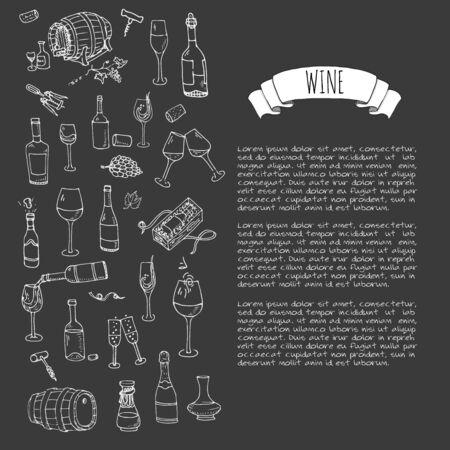 Dessinés à la main set vin icônes Banque d'images - 56429987