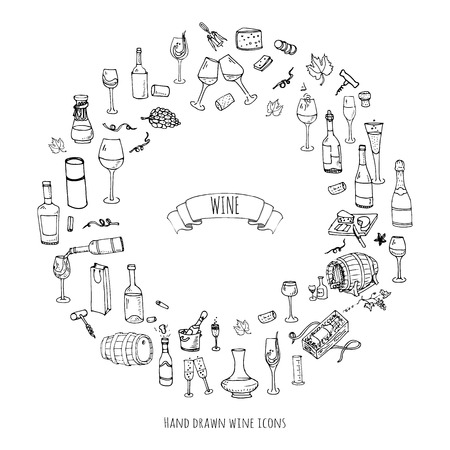 Hand drawn wine set icons Vectores