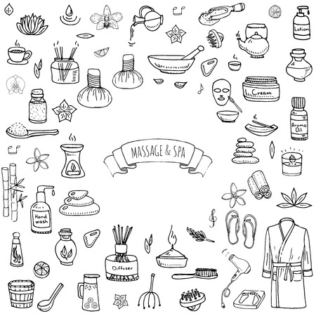 body wrap: Hand drawn doodle Massage and Spa icons set