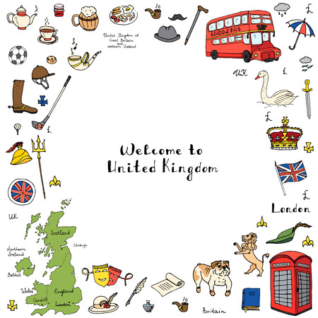 britannia: Hand drawn doodle United Kingdom set Vector illustration UK icons  Welcome to London elements British symbols collection Tea Bus Horse riding Golf Crown Beer Lion Bulldog Flag Britannia Pound sterling