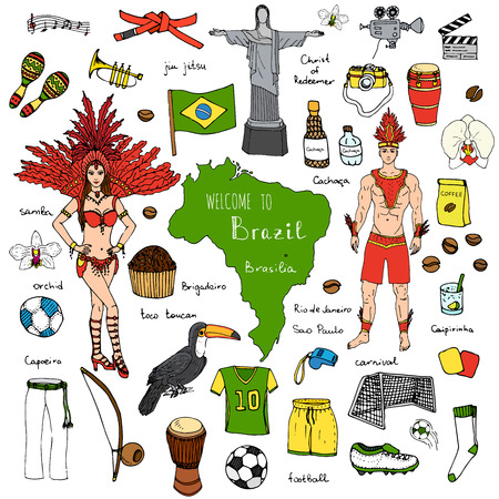 Hand drawn doodle Welcome to Brazil set Vector illustration Sketchy Brazilian traditional icons Cartoon Brazil typical elements collection Landmark Football ball cleats goal Capoeira Samba Orchid Vettoriali