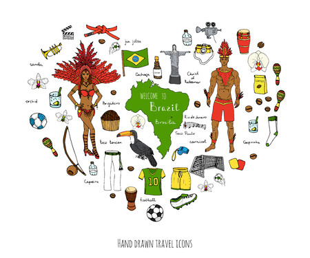 typical: Hand drawn doodle Welcome to Brazil set Vector illustration Sketchy Brazilian traditional icons Cartoon Brazil typical elements collection Landmark Football ball cleats goal Capoeira Samba Orchid Illustration