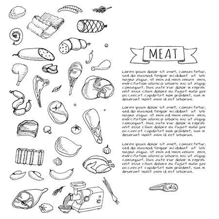 손으로 그린 낙서 만화 고기와 가금류의 다른 종류의 집합 고기 세트 벡터 일러스트 레이 션 스케치 고기 요소 컬렉션 양고기 돼지 고기 햄 닭고기 일러스트