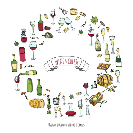 tester: Hand drawn wine set icons Vector illustration Sketchy wine tasting elements collection Wine objects Cartoon wine symbols Vineyard background Vector wine background Winery illustration Grape Wine glass