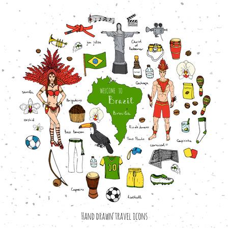 손으로 그린 낙서 오신 것을 환영합니다 브라질 설정 벡터 일러스트 레이 션 스케치 브라질 전통 아이콘 만화 브라질 전형적인 요소 컬렉션 랜드