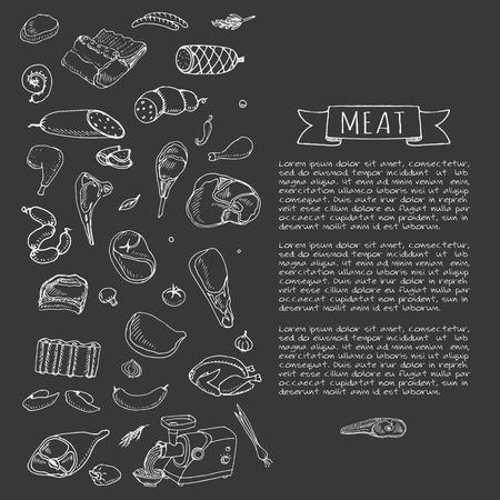 Hand gezeichnet Doodle Satz von Cartoon andere Art von Fleisch und Geflügel Fleisch gesetzt Vektor-Illustration Sketchy Fleisch Elemente Sammlung Lamm Schweineschinken Mince Huhn-Steak Speck Wurst Salami Feinkost