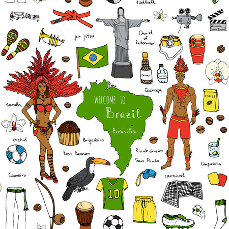 Seamless background hand drawn doodle Welcome to Brazil set Vector illustration Sketchy Brazilian traditional icons Cartoon Brazil typical elements collection Football Capoeira Samba Orchid Coffee