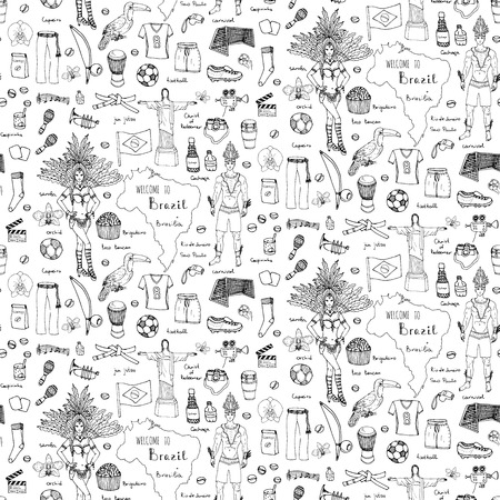 cristo: Seamless background hand drawn doodle Welcome to Brazil set Vector illustration Sketchy Brazilian traditional icons Cartoon Brazil typical elements collection Football Capoeira Samba Orchid Coffee Illustration