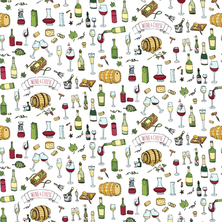 Seamless background Hand drawn wine set icons Vector illustration Sketchy wine tasting elements collection Wine objects Cartoon wine symbols Vineyard background  Winery illustration Grape Wine glass Illustration