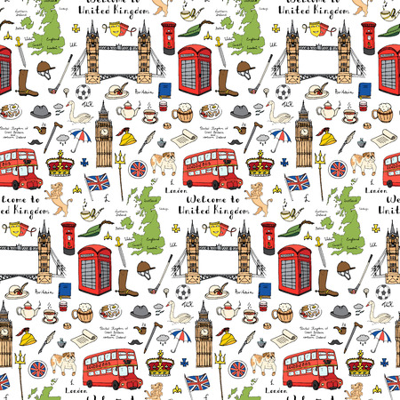 Seamless background Hand drawn doodle England set Vector illustration United Kingdom icons  Welcome to London elements British symbol collection Bus Crown Beer Lion Bulldog London bridge Big Ben Tower