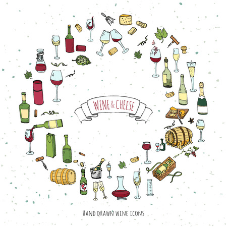 tasting: Hand drawn wine set icons Vector illustration Sketchy wine tasting elements collection Wine objects Cartoon wine symbols Vineyard background Vector wine background Winery illustration Grape Wine glass