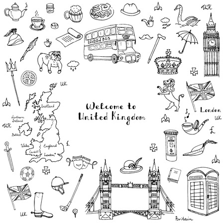 english breakfast: Hand drawn doodle United Kingdom set Vector illustration UK icons  Welcome to London elements British symbols collection Tea Bus Horse riding Golf Crown Beer Lion Bulldog London bridge Big Ben Tower
