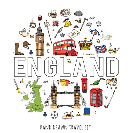 britannia: Hand drawn doodle England set Vector illustration United Kingdom icons  Welcome to London elements British symbols collection Bus Horse riding Golf Crown Beer Lion Bulldog London bridge Big Ben Tower Illustration