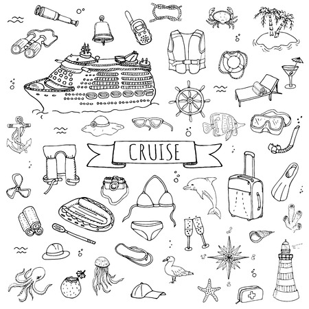 Hand drawn doodle Cruise vacation icons set Vector illustration summer adventure emblem collection Cartoon cruise liner concept elements Sea symbols Marine concept with Cruise Ship Summertime Elements Ilustrace