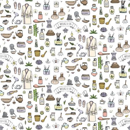 fond dessiné à la main doodle Seamless Massage and Spa icons set Vector symboles d'illustration de bande dessinée de collection éléments du concept de soins de beauté soins de santé traitement Wellness soins Massage du corps de la peau Spa Vecteurs