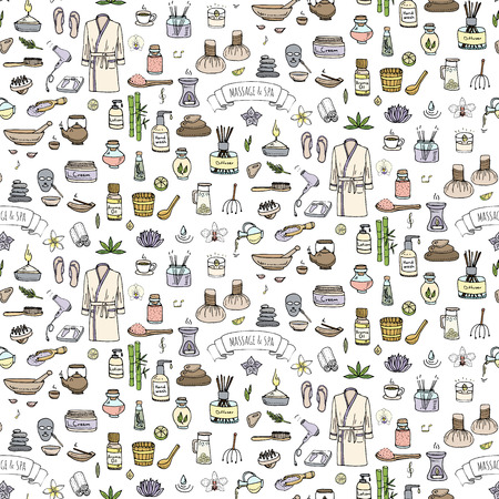 Seamless background hand drawn doodle Massage and Spa icons set Vector illustration symbols collection Cartoon beauty care concept elements health care Wellness treatment Body massage Skin care Spa