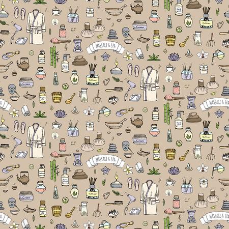 Naadloze achtergrond met de hand getekende doodle Massage en Spa pictogrammen instellen Vector illustratie symbolen collectie Cartoon schoonheidsverzorging begrip elementen gezondheidszorg Wellness behandeling Body Massage Huidverzorging Spa