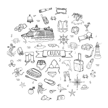 Hand drawn doodle Cruise vacation icons set Vector illustration summer adventure emblem collection Cartoon cruise liner concept elements Sea symbols Marine concept with Cruise Ship Summertime Elements 일러스트