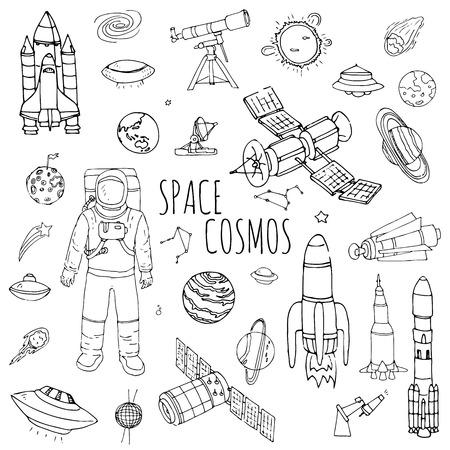손으로 그린 낙서 공간과 코스모스 벡터 일러스트 레이 션 우주 아이콘 공간 개념 요소 로켓 우주선의 기호 컬렉션 태양계 행성 갤럭시 은하 우주