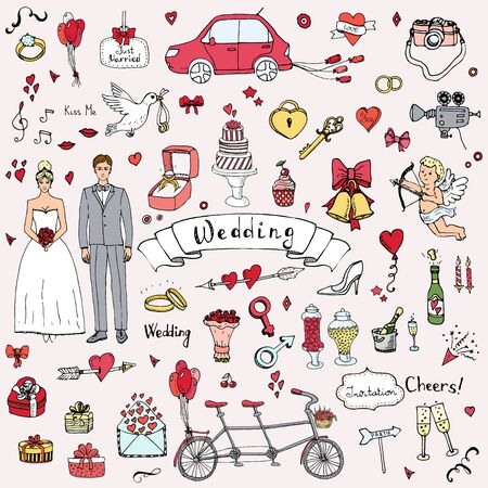 wedding day: Hand drawn doodle Wedding collection Vector illustration Sketchy Marriage icons Big set of icons for Wedding day, love and romantic events Bride Groom Heart Cupid Engagement ring