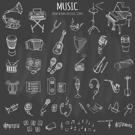 icon collection: Hand drawn doodle Music set Vector illustration musical instrument and symbols icons collections Cartoon sound concept elements Music notes Piano Guitar Violin Trumpet Drum Gramophone Saxophone Harp Illustration