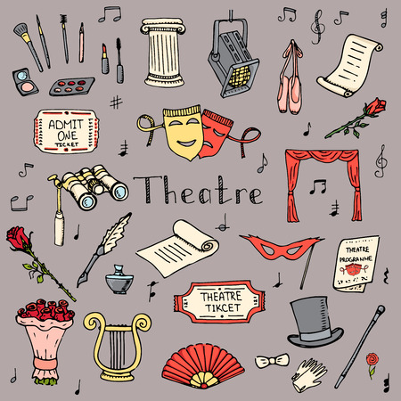 Hand drawn doodle Theater set Vector illustration Sketchy theater icons  Theatre acting performance elements Ticket Masks Lyra Flowers Curtain stage Musical notes Pointe shoes Make-up artist tools